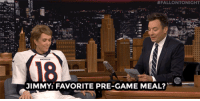 """Peyton Manning, Super Bowl, and Target:  #FALLONTONIGHT  JIMMY: FAVORITE PRE-GAME MEAL? <p><a href=""""https://www.youtube.com/watch?v=hoFH7p7n44Q&amp;index=3&amp;list=UU8-Th83bH_thdKZDJCrn88g"""" target=""""_blank"""">Super Bowl champion Peyton Manning came back to talk to Jimmy for the second night in a row!</a><br/></p>"""