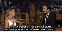 "Target, youtube.com, and John Travolta:  #FALLONTONIGHT  JIMMY: I GUESS THEY DIDN'T.GETI MY-  AUDITION TAPE YET OR SOMETHING, RIGHT? <p><a href=""https://www.youtube.com/watch?v=0XgAljITKzY&amp;index=1&amp;list=UU8-Th83bH_thdKZDJCrn88g"" target=""_blank"">&ldquo;Sandy, c'mon!&rdquo; Jimmy does his John Travolta impression for Grease: Live's Julianne Hough!</a><br/></p>"
