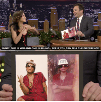 "Bruno Mars, Target, and youtube.com:  #FALLONTONIGHT  JIMMY: ONE IS YOU AND ONE IS BRUNO SEE IF YOU CAN TELL THE DIFFERENCE <p><a href=""https://www.youtube.com/watch?v=xNvlaa5-vtI"" target=""_blank"">Zendaya and Bruno Mars are twinning! </a></p>"