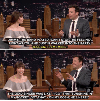 """<p><a href=""""https://www.youtube.com/watch?v=iHbrQC-vGfo"""" target=""""_blank"""">The band Jimmy hired couldn't keep their cool when they saw Justin Timberlake and Jessica Biel!</a></p>:  #FALLONTONIGHT  JIMMY: THE BAND PLAYED """"CAN'T STOP THE FEELING""""  RIGHT AS YOU AND JUSTIN WALKEDINTO THE PARTY.  ESSICA:IREMEMBER!  THE LEAD SINGER WAS LIKE, """"I GOT THAT SUNSHINE IN  MY POCKET, GOT THAT-OHMYGOSH HE'S,HERE!"""" <p><a href=""""https://www.youtube.com/watch?v=iHbrQC-vGfo"""" target=""""_blank"""">The band Jimmy hired couldn't keep their cool when they saw Justin Timberlake and Jessica Biel!</a></p>"""