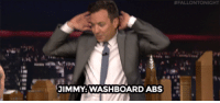 "Clock, Target, and youtube.com:  #FALLONTONIGHT  JIMMY:WASHBOARD ABS <p><a href=""https://www.youtube.com/watch?v=M8WXna6LQy8&amp;list=UU8-Th83bH_thdKZDJCrn88g&amp;index=6"" target=""_blank"">It's on! Jimmy &amp; Vince Vaughn race the clock to summarize movie plots in ""5-Second Summaries""!</a></p>"