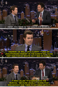 """Target, youtube.com, and Book:  #FALLONTONIGHT  JIMMY: YOU WERE IN THE KARATE KID MUSICAL?   #FALLONTONIGHT  ANDREW: OKWELL LET'S CLARIFY. IT WAS AN  UNAUTHORIZED PARODY OFTHE KARATE KID CAUSE  THEY PAID FOR NO RIGHTS, SO IT WAS SO ILLEGAL.   #FALLONTONIGHT  IT WAS CALLED """"IT'S KARATEKID! THE  MUSICAL."""" BECAUSE LEGALLY,"""" l'GUESS:THAT  WAS ENOUGH FOR THEM TO GETAWAY WITHIT <p><a href=""""https://www.youtube.com/watch?v=G231vixGqW0&index=2&list=UU8-Th83bH_thdKZDJCrn88g"""" target=""""_blank"""">Andrew Rannells' karate kid musical wasn't exactly by the book</a>…<br/></p>"""