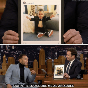 Jimmy Fallon talks with John Legend about the newest member of his family.:  #FALLONTONIGHT  JOHNHE LOOKS LIKE ME AS AN ADULT Jimmy Fallon talks with John Legend about the newest member of his family.