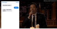 """<p><a href=""""https://www.youtube.com/watch?v=Kpoo6M3S9E8&amp;list=UU8-Th83bH_thdKZDJCrn88g&amp;index=5"""" target=""""_blank"""">Jimmy andGwyneth Paltrow put embarrassing text exchanges to music in First Textual Experience</a>!<br/></p>:  #FALLONTONIGHT  K Messages  Dotails  Hey brown eyos :)  What?  I said... Hey brown  eyes:) <p><a href=""""https://www.youtube.com/watch?v=Kpoo6M3S9E8&amp;list=UU8-Th83bH_thdKZDJCrn88g&amp;index=5"""" target=""""_blank"""">Jimmy andGwyneth Paltrow put embarrassing text exchanges to music in First Textual Experience</a>!<br/></p>"""