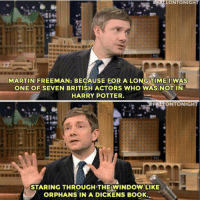 Harry Potter, Martin, and Memes: FALLONTONIGHT  MARTIN FREEMAN: BECAUSE FOR A LONGTIME IWAS  ONE OF SEVEN BRITISH ACTORS WHO WAS NOT IN  HARRY POTTER  FALTONTONIGHT  1I  STARING THROUGH THE WINDOW LIKE  ORPHANS IN A DICKENS BOOK