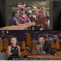 "Children, Halloween, and Shopping:  #FALLONTONIGHT  MILLIE: IT'S A SIZE 5. IT'S FOR A 5-YEAR-OLD! <p><a href=""https://www.youtube.com/watch?v=cTYMO998stI"" target=""_blank"">Millie Bobby Brown shares the story of how Noah Schnapp's last minute Halloween shopping ended with them trick-or-treating in children's costumes. </a></p>"