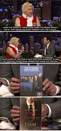 "Christmas, New York, and Target:  #FALLONTONIGHT  OVER THE YEARS, IF THERE'S ONE THING I'VE PRIDED MYSELF  ON ISI JUST KNOW THE EXACT PERFECT GIFT FOR A CHILD   #FALLONTONIGHT  YOUR OLDEST IS TWO AND A HALF AND YOUR YOUNGEST IS ONE,  SO I ROUGHLY KNOW WHAT WORKS FOR THOSE AGE GROUPS   #FALLONTONIGHT  LAW & ORDER  SPECIAL VICTIMS UNIT   #FALLON TONIGHT  1 New York Times bestseller  JON  GRISHAM  THE  FIRM  LAW&ORDER  Grisham i an absolute master."" -The Washington <p><a href=""https://www.youtube.com/watch?v=VFiSJQl3T2Q&list=UU8-Th83bH_thdKZDJCrn88g&index=1"" target=""_blank"">The new Santa, Will Ferrell, brings some non-traditional Christmas gifts for Jimmy's baby and toddler.</a><br/></p>"