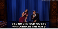 """Friends, Life, and Target:  #FALLONTONIGHT  SO NO ONE TOLD YOU LIFE  WAS GONNA BE THIS WAY <p><a href=""""https://www.youtube.com/watch?v=Y-0w3LdjP_I"""" target=""""_blank"""">Vanessa Hudgens and Jimmy sing the Friends theme song!</a></p>"""