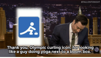 """#FALLONTONIGHT  Thank you, Olympic curling icon, for looking  like-a-guy:doingyoga.nexttoa.boom box,- us- <p>- <strong><a href=""""https://www.youtube.com/watch?v=hyWaIGHJmbc&amp;feature=c4-overview&amp;list=UU8-Th83bH_thdKZDJCrn88g"""" target=""""_blank"""">Jimmy Fallon's Thank You Notes, 2/21/14</a></strong></p>"""