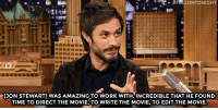 """<p>Gael García Bernal is <a href=""""http://www.nbc.com/the-tonight-show/segments/17746"""" target=""""_blank"""">psyched about his new movie</a> Rosewater!</p>:  #FALLONTONIGHT  '  ut  17  [JON STEWART] WAS AMAZING TO W ORK wITH' INCREDIBLE THAT HE FOUND  TIME TO DIRECT THE MOVIE,TO WRITE THE MOVIE, TO EDIT THE MOVIE. <p>Gael García Bernal is <a href=""""http://www.nbc.com/the-tonight-show/segments/17746"""" target=""""_blank"""">psyched about his new movie</a> Rosewater!</p>"""