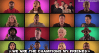 "Ariana Grande, Friends, and Target:  #FALLONTONIGHT  WE ARE THE CHAMPIONS MY FRIENDS <h2><a href=""https://www.youtube.com/watch?v=KHHqPTQDIlo"" target=""_blank"">Sing-along with Sam Smith, Ariana Grande, Meghan Trainor, and more in this throwback jam! </a></h2>"