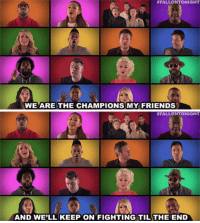 "Friends, One Direction, and Target: FALLONTONIGHT  WE ARE THE CHAMPIONS MY FRIENDS  AND WE'LL KEEP ON FIGHTING TILTHE END <h2><b><a href=""https://www.youtube.com/watch?v=KHHqPTQDIlo"" target=""_blank"">Jimmy, Arianna Grande, Sam Smith, One Direction, and Christina Aguilera have the perfect song to get you pumped for the coming week! </a></b></h2>"