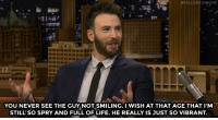 "America, Captain America: Civil War, and Chris Evans:  #FALLONTONIGHT  YOU NEVER SEE THE GUY NOT SMILING. I WISH AT THAT AGE THAT I'M  STILL' SO SPRY AND FULL OF LIFE. HE REALLY IS JUST SO VIBRANT <p><a href=""http://www.nbc.com/the-tonight-show/video/chris-evans-talks-captain-america-civil-war/3029997"" target=""_blank"">Chris Evans reflects on working with Stan Lee</a>.<br/></p>"