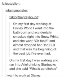 """Ariel, Disney, and Disney World: fallout dallon:  infamy monster:  taking the greyhound:  On my first day working at  Disney World l went into the  bathroom and accidentally  smacked right into Snow White,  and she went """"Oh fuck!"""" and  almost dropped her Red Bull  and that was the beginning of  the best job I've ever had  On my first day I was walking and  ran into Ariel drinking Starbucks  and she said """"What's up bitches""""  I want to work at Disney"""