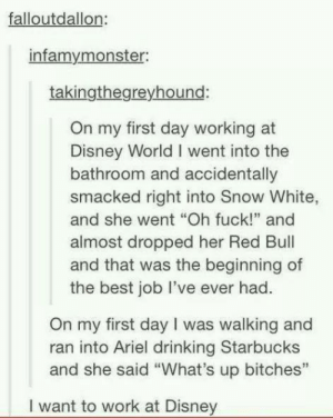 "Ariel, Disney, and Disney World: falloutdallon  infamymonster:  takingthegreyhound:  On my first day working at  Disney World I went into the  bathroom and accidentally  smacked right into Snow White,  and she went ""Oh fuck!"" and  almost dropped her Red Bul  and that was the beginning of  the best job lI've ever had.  On my first day I was walking and  ran into Ariel drinking Starbucks  and she said ""What's up bitches""  I want to work at Disney What working at Disney is like"