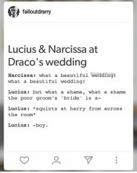 falloutdrarry  Lucius & Narcissa at  Draco's wedding  Narcissa  what a beautiful weading!  what a beautiful wedding!  Lucius but what a shame, what a shame  the poor groom's bride  is a-  Lucius squints at harry from across  the room  Lucius -boy Yesss Drarry 👌 who else ships it? -EJ