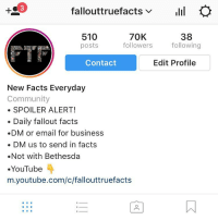 Community, Memes, and youtube.com: fallouttruefacts v  Ilil  510  70K  38  following  followers  posts  Edit Profile  Contact  New Facts Everyday  Community  SPOILER ALERT!  Daily fallout facts  DM or email for business  DM us to send in facts  Not with Bethesda  YouTube  m.youtube.com/c/fallouttruefacts Wow....... just wow I do these when we hit milestones and today is the biggest one yet 70k that means seventy thousand people right now will see this.... that is truly amazing welcome new followers and thank you for staying old ones and thank you all for being amazing truly greatful❣️ what should I do to honor this event ?