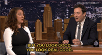 """<p>Things got wild during the commercial break! Jimmy and Maya Rudolph workshopped <a href=""""https://www.youtube.com/watch?v=W6F_u7HZRDM"""" target=""""_blank"""">some characters who love food fads!</a></p>:  #FALONTORICHT  BUT YOU LOOK GOOD  YOU LOOK REAL GOOD <p>Things got wild during the commercial break! Jimmy and Maya Rudolph workshopped <a href=""""https://www.youtube.com/watch?v=W6F_u7HZRDM"""" target=""""_blank"""">some characters who love food fads!</a></p>"""