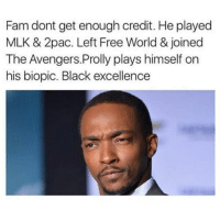 """Fam, Memes, and Avengers: Fam dont get enough credit. He played  MLK & 2pac. Left Free World & joined  The Avengers.Prolly plays himself on  his biopic. Black excellence Put Some """"Respekt"""" On Anthony Mackie's Catalog 😂😂😂😂😂😂 pettypost pettyastheycome straightclownin hegotjokes jokesfordays itsjustjokespeople itsfunnytome funnyisfunny randomhumor anthonymackie"""