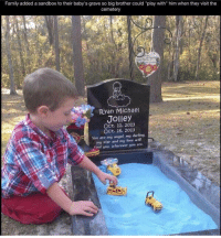 "Memes, Big Brother, and 🤖: Family added a sandbox to their baby's grave so big brother could ""play with"" him when they visit the  cemetery  Ryan Michae  Jolley  Oct. 11, 2013  Oct. 16, 2013  You are my angel my darling.  R  my star and my love will  find you, wherever you are. This really breaks my heart.. 😧💔"