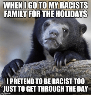 Im no civil rights leader.: FAMILY FOR THE HOLIDAYS  PRETEND TO BE RACIST TOO  JUST TO GET THROUGH THE DAY  imgflip.com Im no civil rights leader.