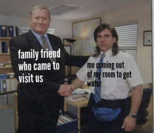 meirl: family friend  who came to  visit us  me coming out  of my room to get  water meirl