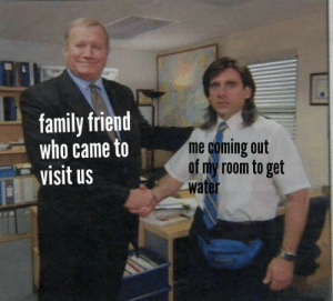Who Came: family friend  who came to  visit us  me coming out  of my room to get  water
