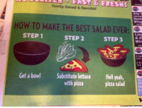 2 Step: Family Owned & Operated  Doze  Wing  HOW TO MAKE THE BEST SALAD EVER:  STEP 1  STEP 2  STEP 3  Larg  Win  2 Lan  (12  (16  Get a bowl Substitute lettuce Hell yealh,  with pizza  2p  pizza salad