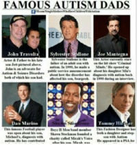autismdad autism autismawareness: FAMOUS AUTISM DADS  HEE  John Travolta  Sylvester Stallone  Joe Mantegna  Actor Father to  father elan sas with  lett pintured above.  public vertice aa  Tammy Hi  Dan Marino  wan open about his tea,  bath a daughter and  karity called Mirak's Veire  1le  appeared la a far autismdad autism autismawareness