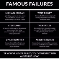 """Albert Einstein, Memes, and Michael Jordan: FAMOUS FAILURES  MICHAEL JORDAN  WALT DISNEY  He was fired from a newspaper for  After being cut from his high school  """"lacking imagination"""" and having  basketball team, he went home,  no original ideas.""""  locked himself in his room, & cried.  STEVE JOBS  THE BEATLES  Atao years old, he was left devastated &  Rejected by Decca Recording studios,  decompressed after being  uho said """"We don't like their sound""""&  They have no future in show  unceremoniously removed from the  business.""""  company he started.  OPRAH WINFREY  ALBERT EINSTEIN  He wasn't able to speak until he was almost  She was demoted from her job as a  4 years old, and his teachers said he d """"never  news anchor because she """"wasn't  amount to much.""""  fit for television.""""  """"IF YOU'VE NEVER FAILED, YOU'VE NEVER TRIED  ANYTHING NEW"""" Never give up"""