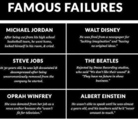 """Albert Einstein, Basketball, and Disney: FAMOUS FAILURES  WALT DISNEY  MICHAEL JORDAN  After being cut from his high school  He was fired from aneuspaper for  Tacking imagination and having  basketball team, he went home,  locked himself in his room,& cried.  no original ideas.  STEVE JOBS  THE BEATLES  Rejected by Decca Recording studios,  At 30 years old, he was left devastated&  decompressed after being  who said We dorrlike their sound &  """"They have no fatturein show  unceremoniously removed from the  business.  company he started.  OPRAH WINFREY  ALBERT EINSTEIN  She was demoted from herjob as a  He wasn't able to speak until he was almost  news anchor becoase Rhe """"unasin  4years old, and his teachers said he'd never  fit for television.""""  amount to much. 'nuff said."""
