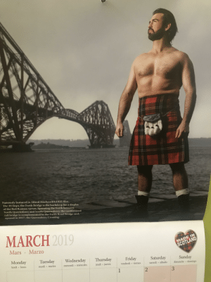 Friday, Mars, and Scotland: Famously featured in Alfred Hitchcock's 1935 film  The 39 Steps, the Forth Bridge is the backdrop for a display  of the Red Ramsay tartan. Spanning the Forth between  North Queensferry and South Queensferry, the cantilevered  rail bridge is complemented by the Forth Road Bridge and  opened in 2017, the Queensferry Crossing.  MARCH  2019  MADE IN  SCOTLAND  Mars Marzo  Monday Tuesday Wednesday Thursday Friday Saturday Sunday  lundi lunes  mardi martesmercredi miérclueves  mardimartes  mercredimiercoles  vendredi viernes saedi sábadodimace domingo  2  3 Mac has really come into his own over in Scotland