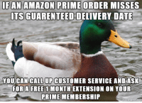 Amazon, Amazon Prime, and Date: FAN  AMAZON  PRIME  ORDER  MISSES  ITS GUARENTEED DELIVERY DATE  YOU CAN CALL UP CUSTOMER SERVICE ANDASK  FOR N YOUR  PRIME MEMBERSHIP  A FREE 1 MONTH EXTENSION its their policy, but you have to ask.