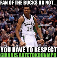 Basketball, Nba, and Respect: FAN OF THE BUCKS OR NOT..  @NBAMEMES  34  YOU HAVE TO RESPECT  GIANNIS ANTETOKOUNMPO 💯 nbamemes nba giannis