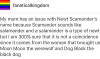 This could be true...  ~Andromeda: fanaticalkingdom  My mum has an issue with Newt Scamander's  name because Scamander sounds like  salamander and a salamander is a type of newt  but I am 300% sure that it is not a coincidence  since it comes from the woman that brought us  Moon Moon the werewolf and Dog Black the  black dog This could be true...  ~Andromeda