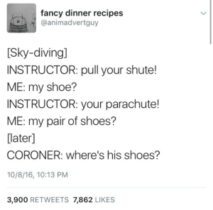 sky: fancy dinner recipes  @animadvertguy  [Sky-diving]  INSTRUCTOR: pull your shute!  ME: my shoe?  INSTRUCTOR: your parachute!  ME: my pair of shoes?  [later]  CORONER: where's his shoes?  10/8/16, 10:13 PM  3,900 RETWEETS 7,862 LIKES