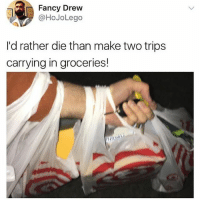 This is the most relatable thing I've ever seen: Fancy Drew  @HoJoLego  I'd rather die than make two trips  carrying in groceries! This is the most relatable thing I've ever seen
