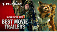 Memes, Fandango, and 🤖: FANDANGO  SUPER BOWL 2017  BEST MOVIE  TRAILERS Re-watch ALL the Super Bowl Movie Trailers, in a row. You're welcome.
