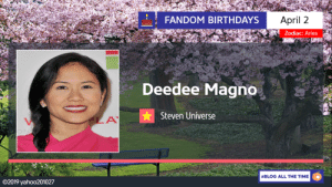 yahoo201027:April 2: Happy 44th Birthday to Filipino-American Actress, Singer, and Dancer Deedee Mango, who provided the Voices of the Characters of the Character of Pearl (our Pearl from the Crystal Gems), Blue Pearl (Servant to Blue Diamond), Yellow Pearl (Servant to Yellow Diamond), and Pink Pearl (Formerly served for Pink Diamond before becoming White Pearl) from Steven Universe.: FANDOM BIRTHDAYS  April 2  Zodiac: Aries  Deedee Magno  Steven Universe  #BLOG ALL THE TIME  ©2019 yaho○201027 yahoo201027:April 2: Happy 44th Birthday to Filipino-American Actress, Singer, and Dancer Deedee Mango, who provided the Voices of the Characters of the Character of Pearl (our Pearl from the Crystal Gems), Blue Pearl (Servant to Blue Diamond), Yellow Pearl (Servant to Yellow Diamond), and Pink Pearl (Formerly served for Pink Diamond before becoming White Pearl) from Steven Universe.