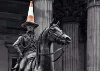 Facebook, Friends, and Fucking: fandomdrunk:  modmad:  weasley-detectives:  scottish-badger:  OK SO EVERYTHING YOU NEED TO KNOW ABOUT GLASGOW YOU WILL KNOW FROM THIS STATUE THIS MY FRIENDS IS THE DUKE OF WELLINGTON STATUE IN ROYAL EXCHANGE SQUARE IN GLASGOW AND YES HE HAS A TRAFFIC CONE ON HIS HEAD NOW LET ME TELL YOU I HAVE LIVED IN GLASGOW FOR 18 AND A HALF YEARS AND NOT ONCE HAVE I SEEN THIS MAN WITHOUT A CONE ON HIS HEAD IT HAS BEEN REMOVED SO MANY TIMES BY THE COUNCIL BUT SOMEHOW IT ALWAYS SEEMS TO GET BACK UP THERE AND ITS NOT A SMALL STATUE ITS PRETTY FUCKING BIG SO WHOEVER KEEPS ON PUTTING UP THERE IS A DETERMINED WEE FUCKER IT HAS BECOME A NATIONAL SYMBOL FOR GLASGOW CAUSE ITS JUST THE EPITOME OF GLASWEGIAN HUMOUR AND THEY EVEN PAINTED THE CONE FUCKING GOLD FOR THE OLYMPICS AND A FEW MONTHS AGO THE COUNCIL SAID THEY WERE GOING TO RAISE UP THE STATUE SO PEOPLE COULDNT PUT THE CONE ON AND LET ME TELL YOU IT WAS FUCKING PANDAEMONIUM ABOUT GLASGOW IT WAS AS IF WORLD WAR THREE HAD BROKEN OUT THERE WERE FACEBOOK PAGES AND PROTESTS AND PETITIONS AND ALL SORTS TO KEEP THE CONE ON SO LONG AND SHORT OF IT IS THAT THIS STUPID STATUE AND ITS STUPID CONE IS ALL YOU NEED TO KNOW ABOUT SCOTS IN PARTICULAR GLASWEGIANS CAUSE WE CANT DECIDE WHETHER WE WANT TO RULE OUR OWN COUNTRY OR NOT BUT IF YOU FUCKING DARE TRY TO TAKE THE CONE OFF THE DUKE OF WELLINGTONS HEAD THERE WILL BE A NATION WIDE OUTRAGE AND GLASGOWS OWN VERSION OF LES MIS WILL HAPPEN I AINT FUCKING KIDDIN  I once saw it without the cone on its head. It was very distressing.  Glasgow is a land of proud and noble people  the duke is very fashionable: