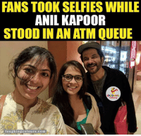 Lucky girls...: FANS TOOK SELFIES WHILE  ANIL KAPOOR  STOOD IN ANATM QUEUE  laughing colours com Lucky girls...