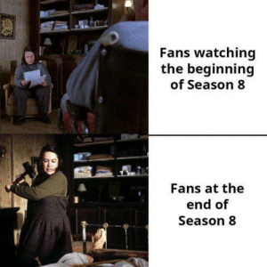 Game of Thrones, The End, and End: Fans watching  the beginning  of Season 8  Fans at the  end of  Season 8