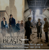 Memes, Beats, and Film: FANTASTIC  BEATS  mugglefacts  The next Fantastic Beasts film is set to  hit cinemas on November 16th 2018. MoviestillsDBc  MovieStillsDB.c qotd : are you excited? Is that even a question?😂