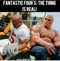 "Fantastic Four, Memes, and Hercule: FANTASTIC FOUR'S: THE THING  IS REAL!  IG: @LEGIONS PRODUCTION  LEGIONS PRODUCTION 😳😂SPOTTED! HE'S REAL! What's your excuse? Thoughts? 🤔Opinions? What do you guys think? COMMENT BELOW! Athletes. On the left: @bullmentula. On the right: ""The thing"" from @fantasticfour. TAG SOMEONE who needs to lift! _ 🔥Looking some unique gym clothes?👕👖 💸Use our 10% discount code: HERCULES🔑 on all trendy Super Hero Lifting Apparel. Check out the LINK in our BIO. _ 🚨👉Add herculesworkouts to your fitness post or tag @herculesworkouts for a possible feature👈🚨 and 📤➡DM us your favourite fitness related post for a repost⬅📤 wcw fitfam fitdutch fitness gym gymtime gains followmyjourney workout bodybuilding bodybuilder shoutouts therock hercules dwaynejohnson abs fitdutchies protein shredded muscle love laugh inspire herculesworkouts"