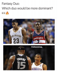 Memes, 🤖, and Washington: Fantasy Duo  Which duo would be more dominant?  N ORLEANS  23  washington  @nbaontop  15 Who would you choose?