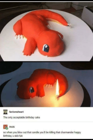 srsfunny:What a monster…: fantomeheart  The only acceptable birthday cake  inuis  so when you blow out that candle you'll be killing that charmander happy  birthday u sick fuk srsfunny:What a monster…