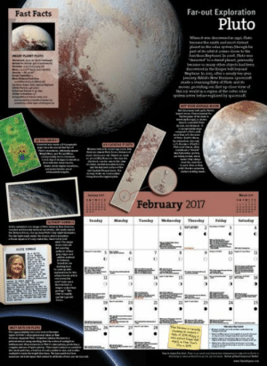 Facts, Tumblr, and Blog: Far-out Exploration  Pluto  Fast Facts  part ot itsoubet it comee dloter to the  discovered in the aiper belt begoed  Nejaune In aoeg, aftee a nearly ben-yeae  weld in a  February 2017  SendayMonda Tesday Wednesday Thadayriday  19 photos-of-space:  The Perfect Gift for Every Space Enthusiast: the Year in Space Calendar 2017