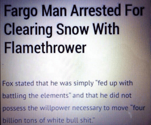 "Shit, Tumblr, and Blog: Fargo Man Arrested For  Clearing Snow With  Flamethrower  Fox stated that he was simply ""fed up with  battling the elements"" and that he did not  possess the willpower necessary to move four  billion tons of white bull shit."" srsfunny:Well, He Had A Compelling Argument"
