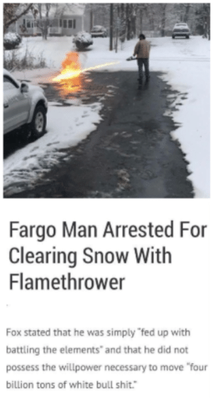 """Tired of all that white bullshit...: Fargo Man Arrested For  Clearing Snow With  Flamethrower  Fox stated that he was simply """"fed up with  battling the elements"""" and that he did not  possess the willpower necessary to move """"four  billion tons of white bull shit."""" Tired of all that white bullshit..."""