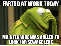 Dank, Work, and Today: FARTED AT WORK TODAY  MAINTENANCE WAS CALLED TO  LOOK FOR SEWAGE LEAK
